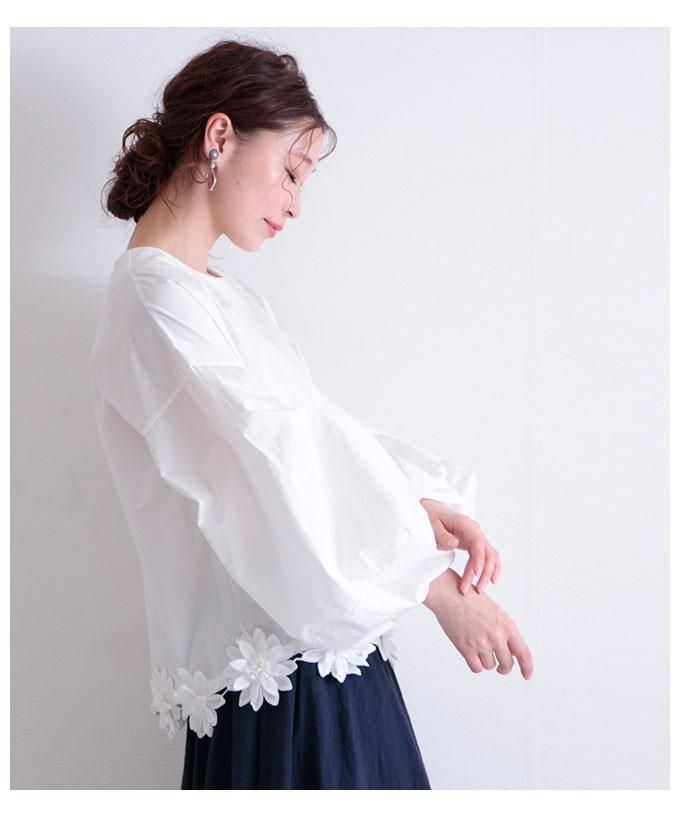 花コサージュ裾のコットンぽわん袖トップス【6月8日8時販売新作】