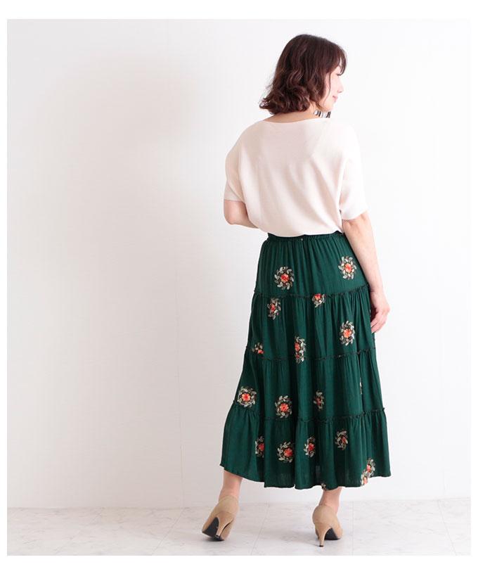 花刺繍のティアードフレアロングスカート【6月10日8時販売新作】
