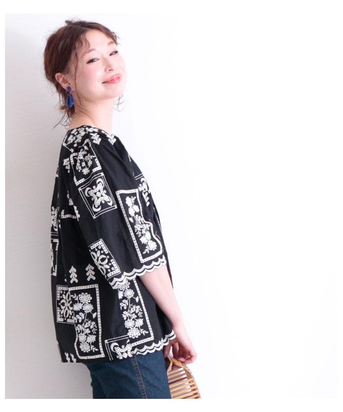 裾スカラップ刺繍のコットントップス【6月13日8時販売新作】