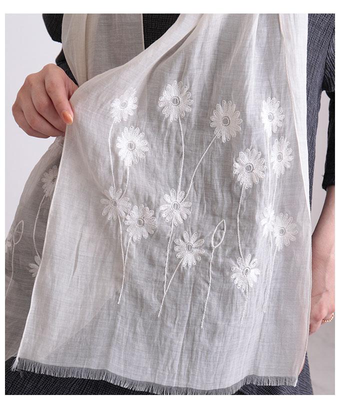ナチュラル花刺繍のロングストール【6月20日8時販売新作】