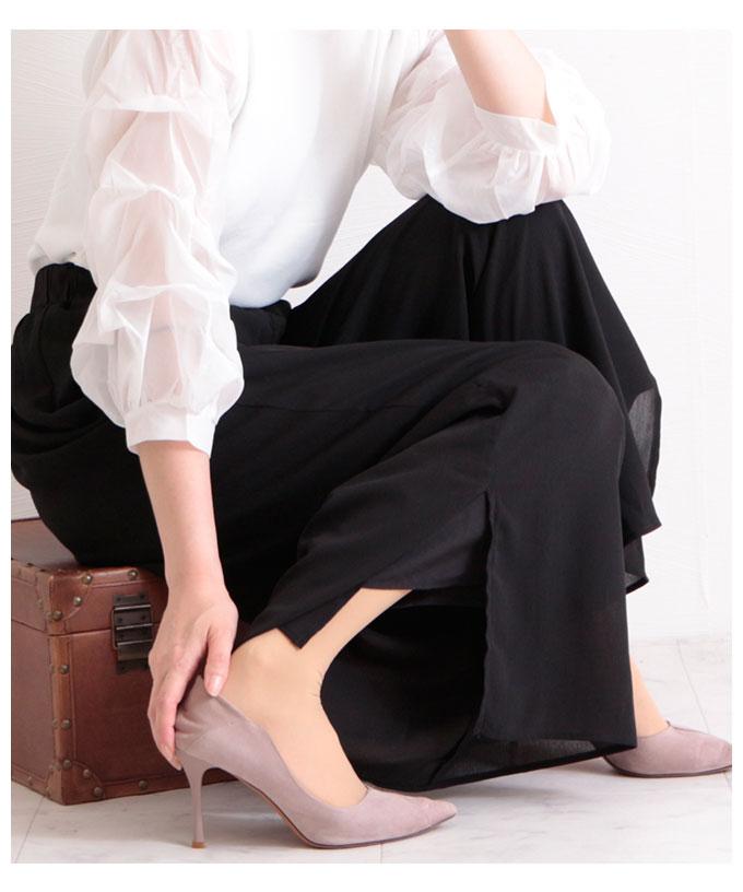 裾スリットのフレアワイドパンツ【6月24日8時販売新作】