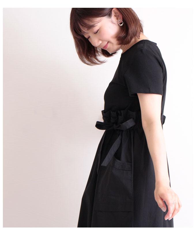ウエストリボンのTシャツドッキングワンピース【6月22日8時販売新作】