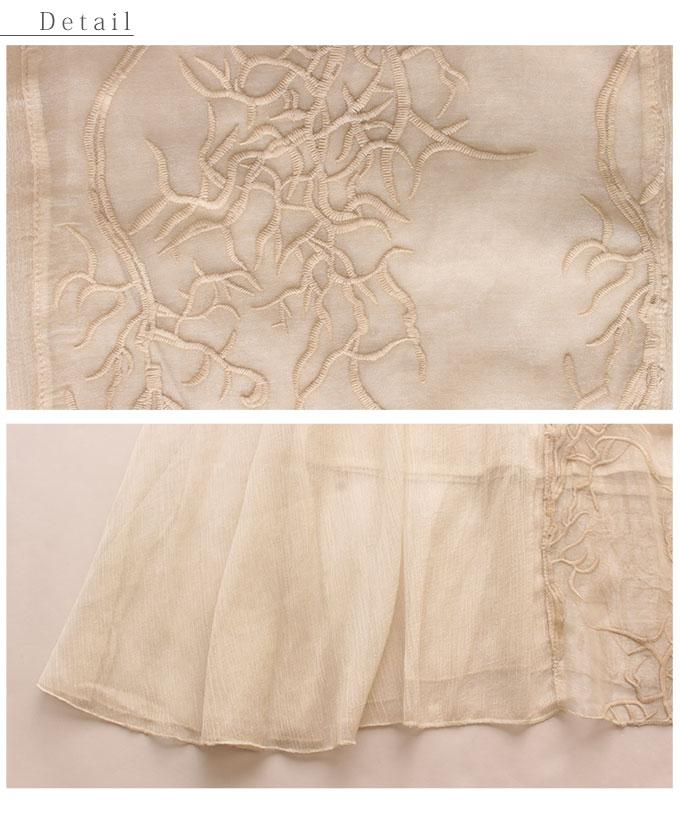 ボタニカル刺繍透けるオーガンジーワンピース【7月4日8時販売新作】