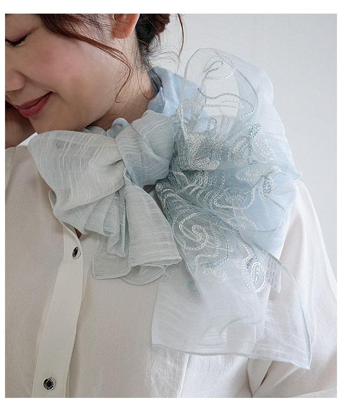 絹綿素材ボタニカル刺繍のストール【7月6日8時販売新作】