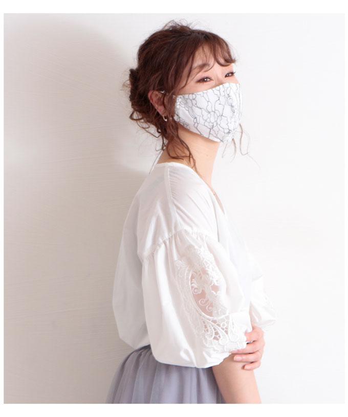 モノトーンの花柄美麗レースマスク【7月11日8時販売新作】