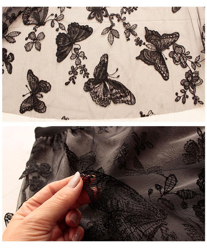 葉っぱと蝶の立体モチーフが重なるチュールスカート【7月8日8時販売新作】