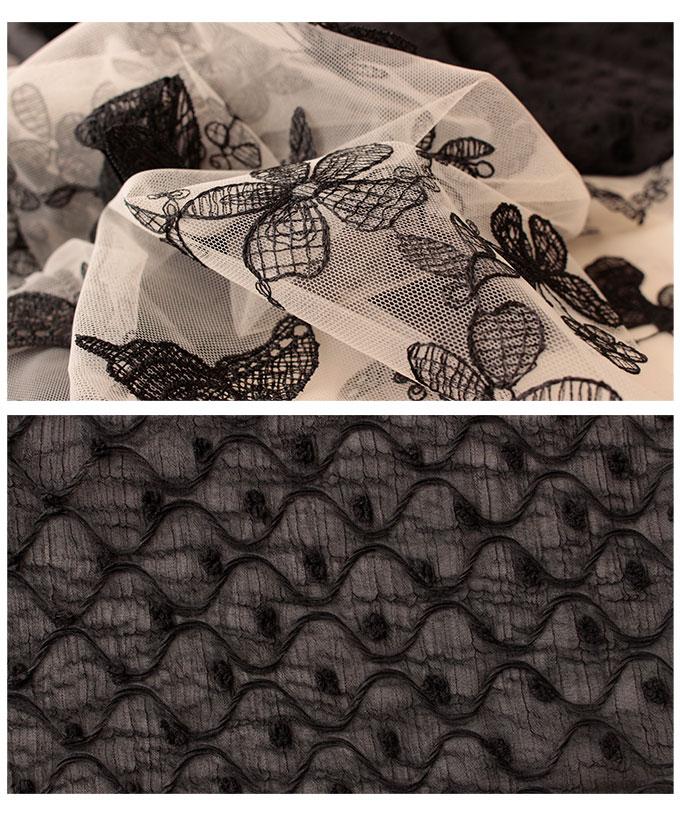葉っぱと蝶の刺繍が重なるシアーワンピース【7月13日8時販売新作】