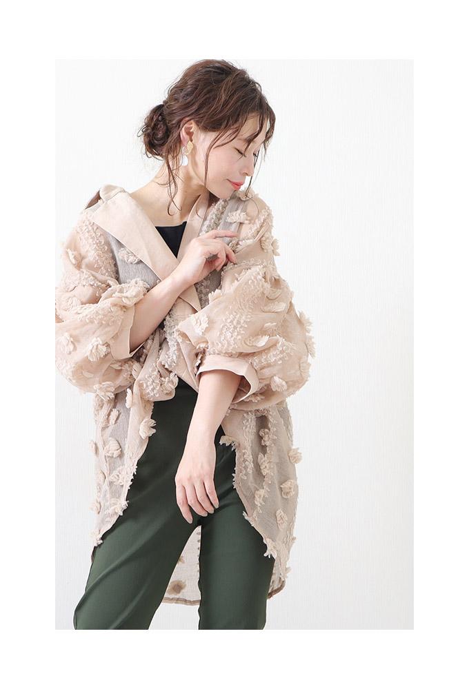 花模様のぽわん袖シースルートップス【7月15日8時販売新作】