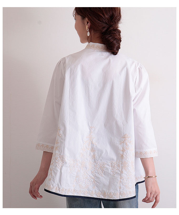 刺繍とパイピングのAラインコットンシャツ【8月1日8時販売新作】