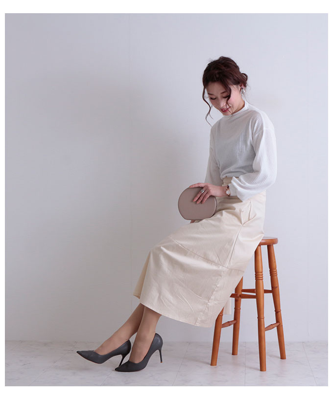 ミモレ丈のコットン台形スカート【7月29日8時販売新作】