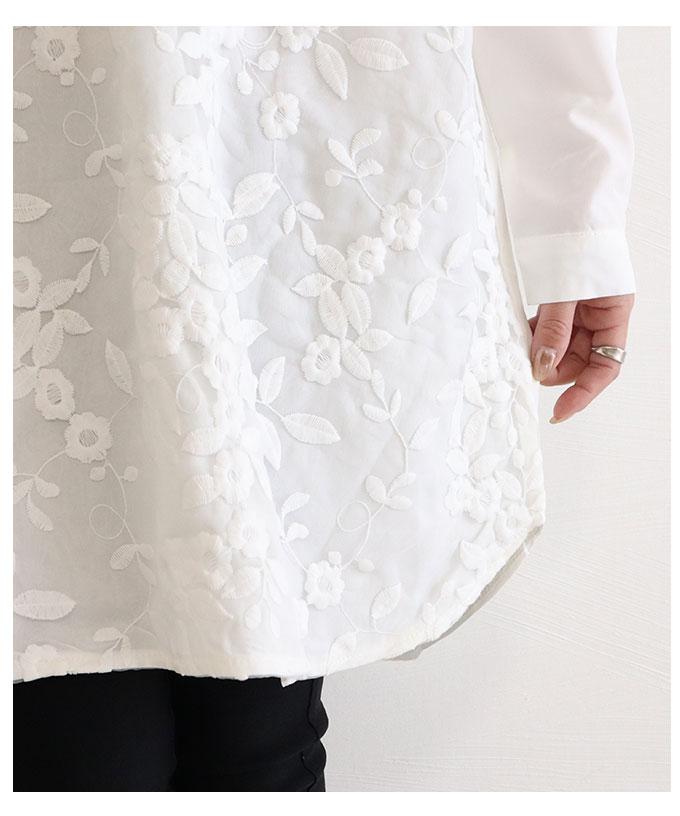 花刺繍のチュニックシャツトップス【8月15日8時販売新作】