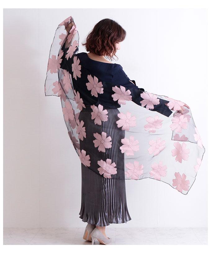 花模様のオーガンジーロングストール【8月24日8時販売新作】
