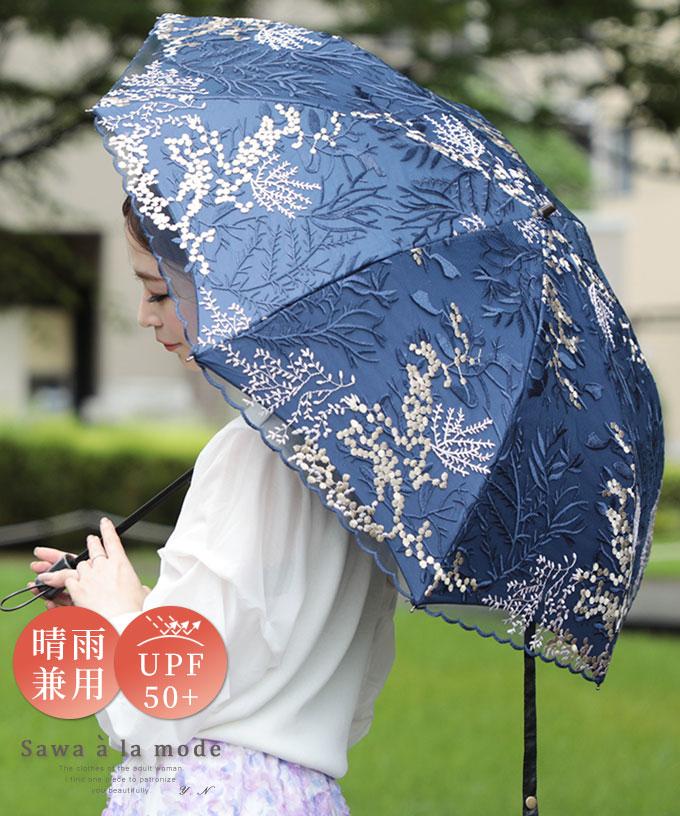 刺繍レースの晴雨兼用折りたたみ日傘【9月16日11時再入荷】