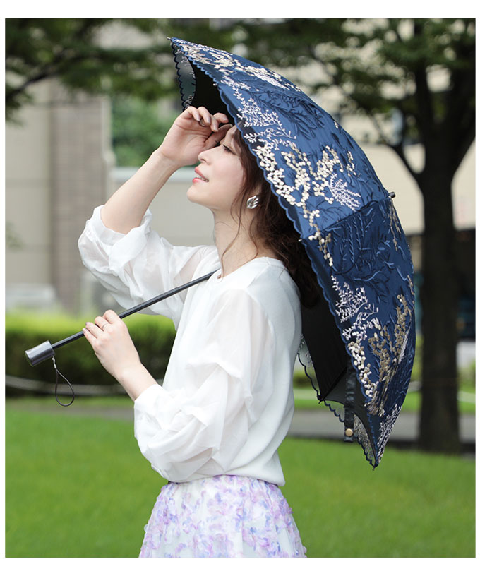 刺繍レースの晴雨兼用折りたたみ日傘【8月29日8時販売新作】