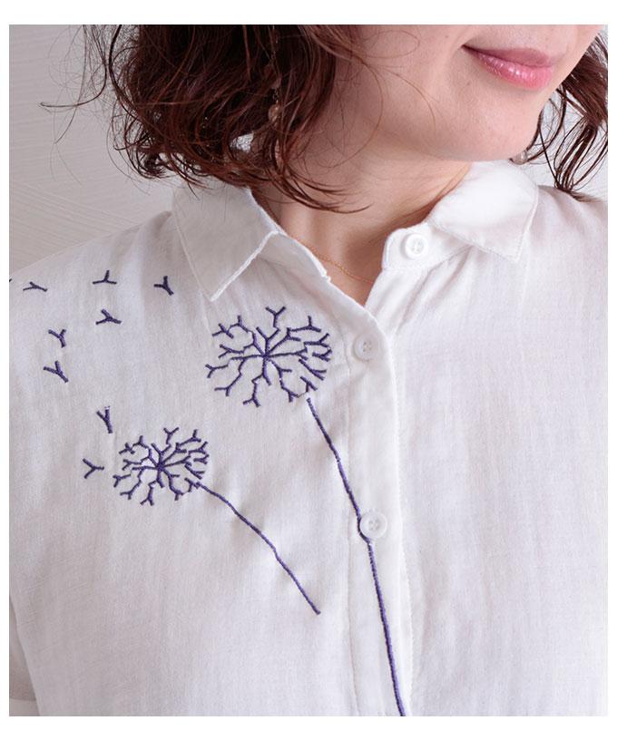 綿毛刺繍のナチュラルシャツトップス【8月29日8時販売新作】