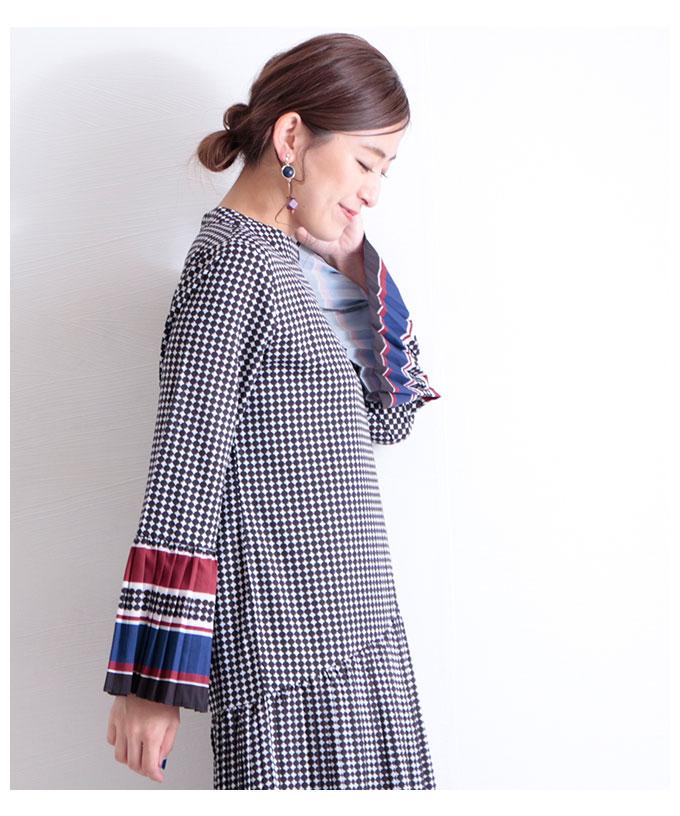 フレアプリーツ袖のレトロワンピース【8月31日8時販売新作】