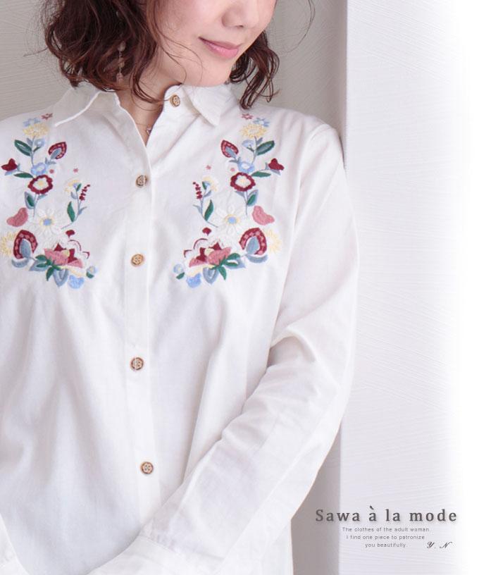 コットンリネンの花刺繍チュニックシャツ【8月31日8時販売新作】