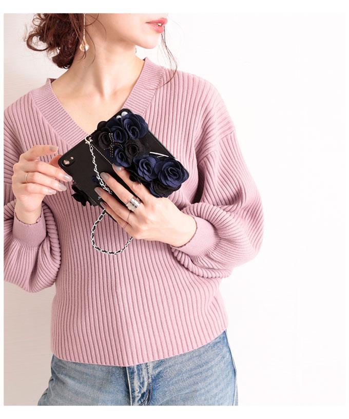 チェーンストラップ付花モチーフの手帳型iPhoneケース【9月16日8時販売新作】