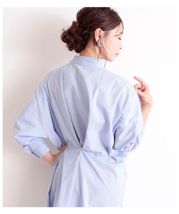 タックデザインが素敵なコットンシャツワンピース【9月23日8時販売新作】