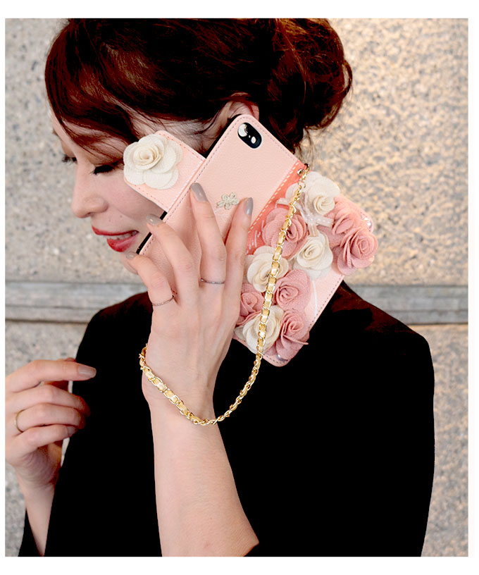 チェーンストラップ付花モチーフの手帳型iphonケース【9月21日8時販売新作】