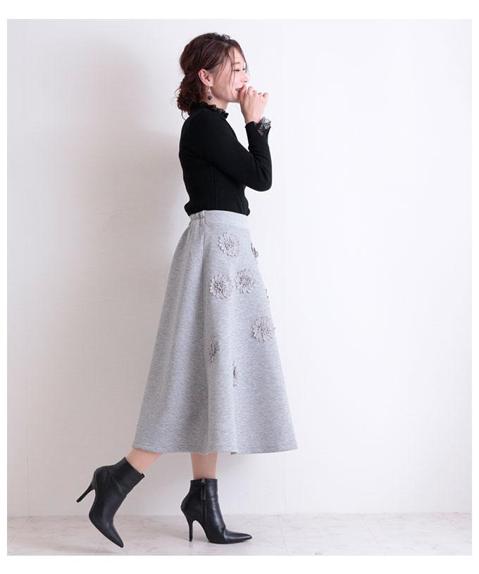 花モチーフ付きAラインフレアスカート【10月3日8時販売新作】