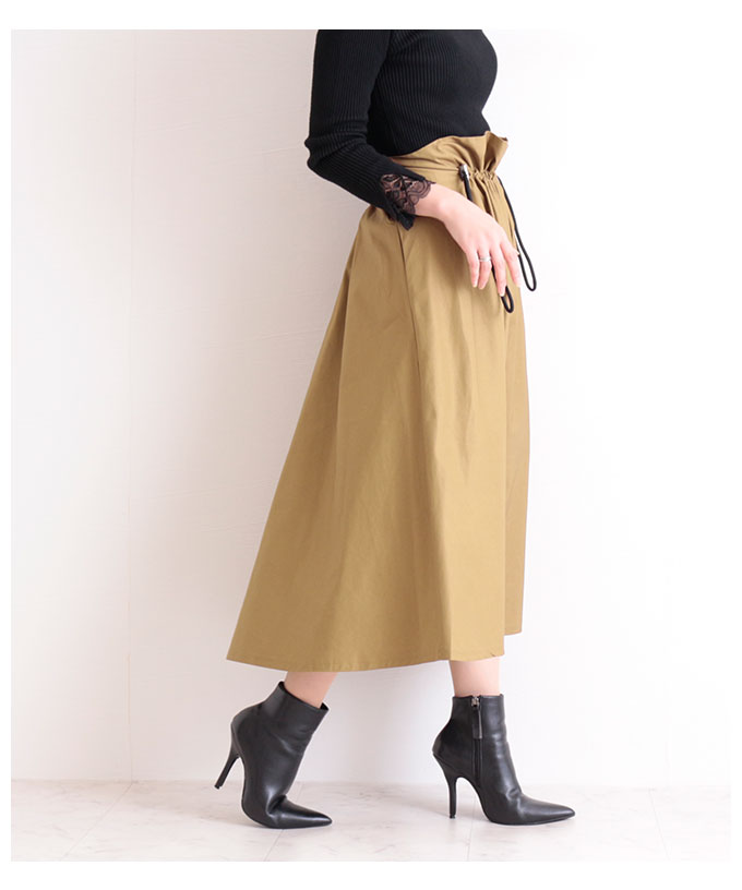 くしゅっと絞れるカジュアルなデザインスカート【10月10日8時販売新作】