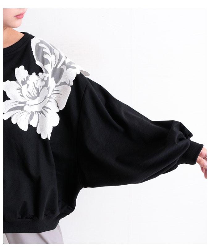 花刺繍のモノトーンドルマントップス【10月7日8時販売新作】