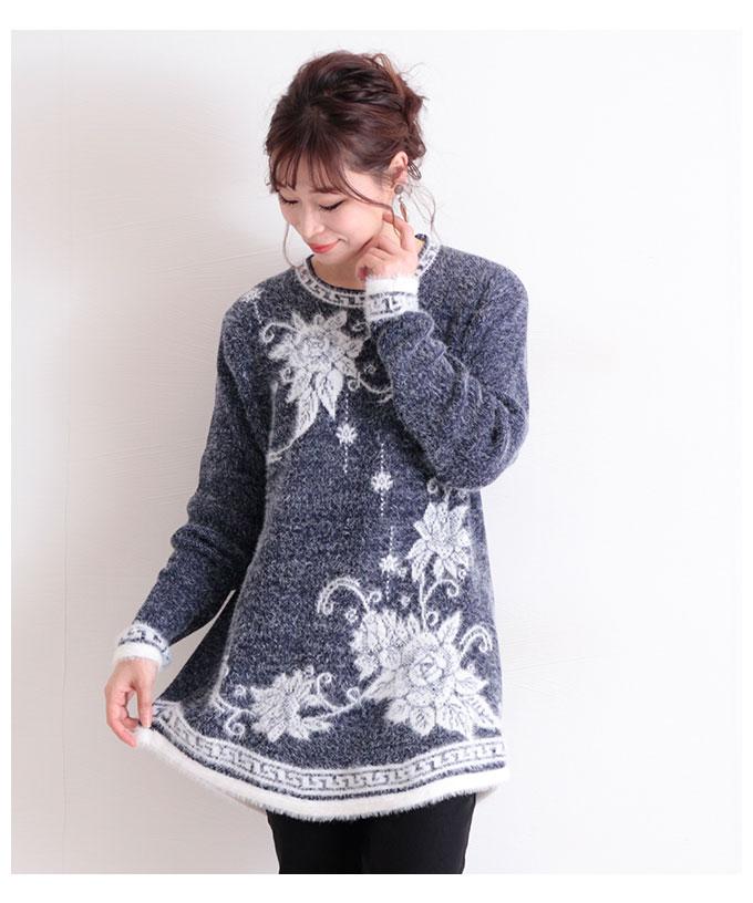 花柄プリントのニットチュニック【10月17日8時販売新作】