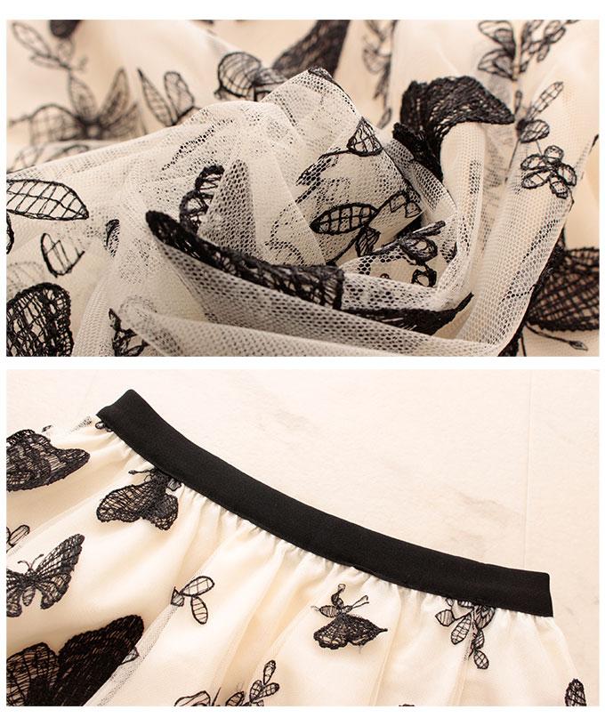 蝶々模様揺れるチュールフレアスカート【10月12日8時販売新作】