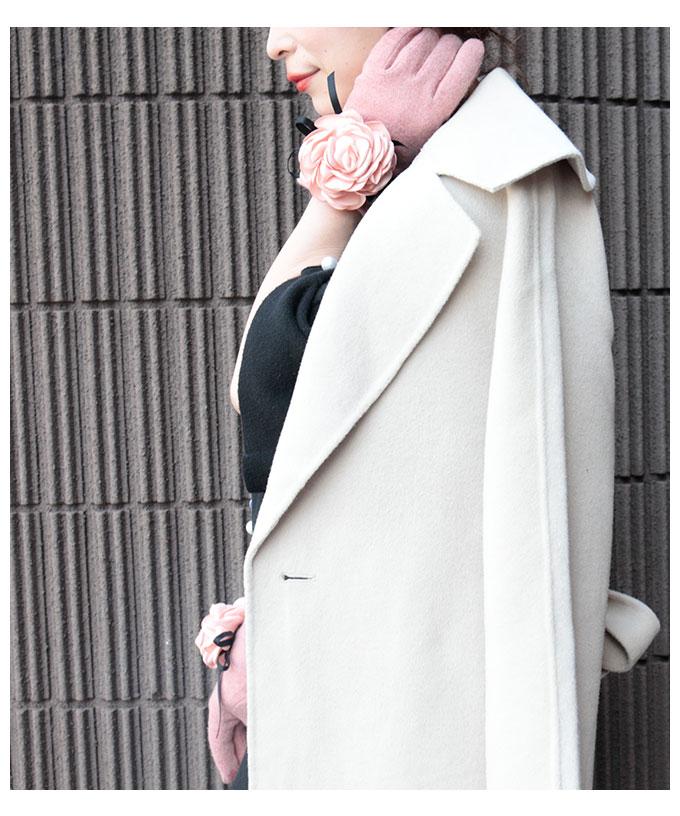 花コサージュ付き裏起毛のグローブ【11月2日8時販売新作】