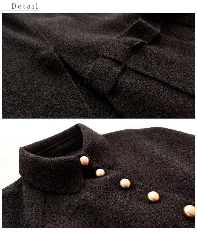 ゴールドボタン輝くベルト付きポンチョ【11月16日8時販売新作】
