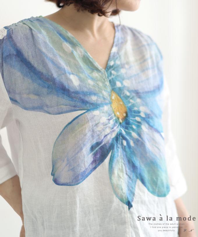鮮やかな水彩花のリネンブラウス【5月22日20時販売新作】