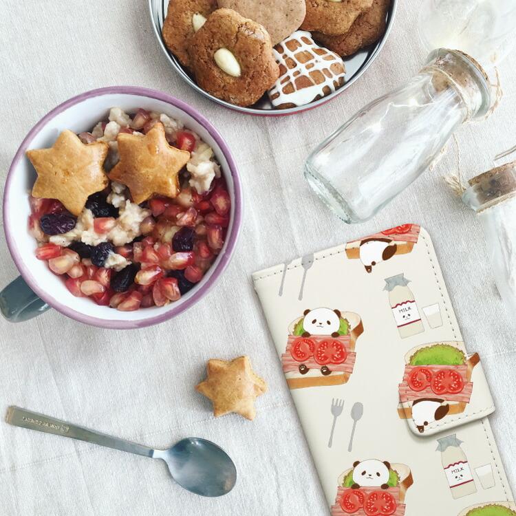iPhone手帳型ケース「パンダ ぱんだ パン トースト ベーコン レタス 白 黒 食パン動物 かわいい キャラクター」写真