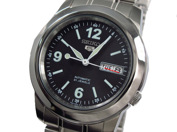 SEIKO 5 セイコー ファイブ 海外モデル 腕時計 自動巻き SNKE63K1 メンズ ブラック×シルバー メタルベルト-1