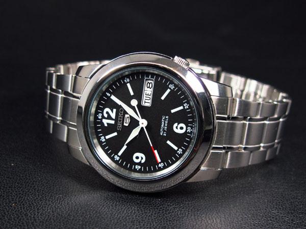 SEIKO 5 セイコー ファイブ 海外モデル 腕時計 自動巻き SNKE63K1 メンズ ブラック×シルバー メタルベルト-2