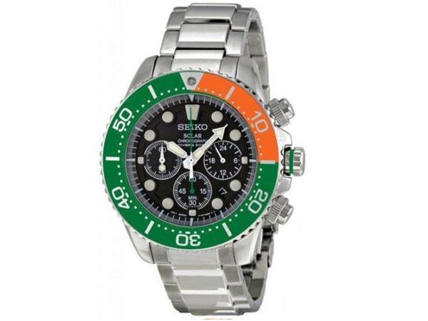 セイコー SEIKO 逆輸入 ソーラー クロノグラフ メンズ 腕時計 SSC237P1 グリーン オレンジ-1