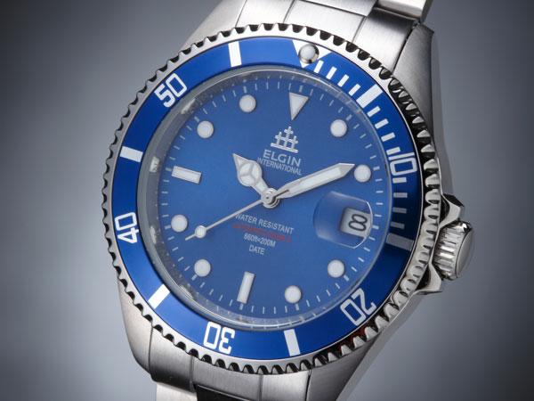 エルジン ELGIN 腕時計 200m防水 自動巻き ダイバーズ FK1405S-BL ブルー-1