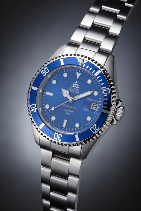 エルジン ELGIN 腕時計 200m防水 自動巻き ダイバーズ FK1405S-BL ブルー-3