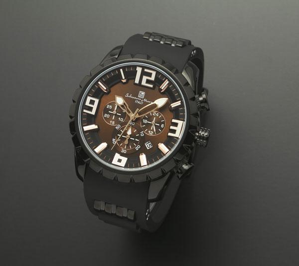 サルバトーレマーラ クロノ クオーツ メンズ 腕時計 SM15107-BKBR-1