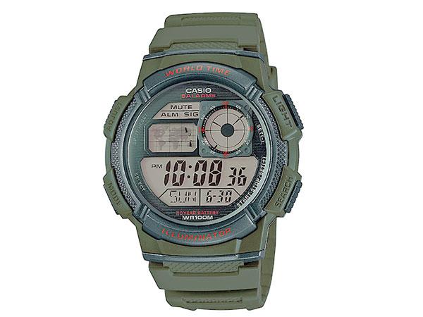 カシオ CASIO スポーツ 逆輸入 ワールドタイム デジタル メンズ 腕時計 AE-1000W-3A グリーン-1