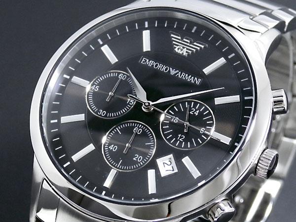 エンポリオ アルマーニ EMPORIO ARMANI 腕時計 AR2434 メンズ ブラック×シルバー メタルベルト-1