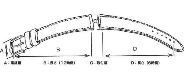 腕時計 替えベルト 型押カーフレディース カーフ 16mm WIC2016BGPG-3
