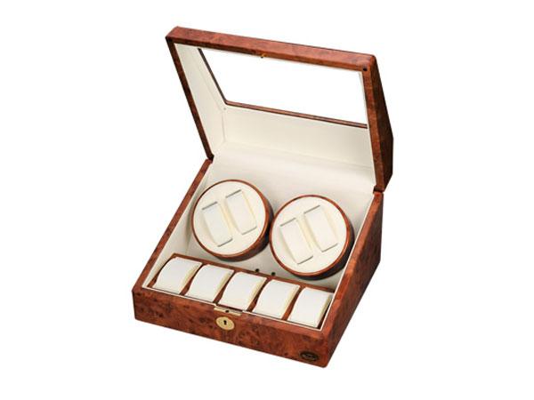 ワケアリB品 アウトレット アウトレット LUWH 4連 ウォッチワインダー ワインディングマシーン 腕時計 9本 収納 LU30004RD 木目-2