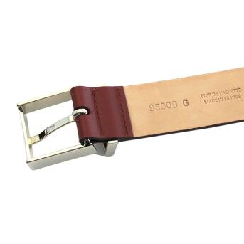 メゾンボワネ Maison Boinet 95009G-79-08-M Burgundy  ベルトタイプ レザー ブレスレット バングル 30mm