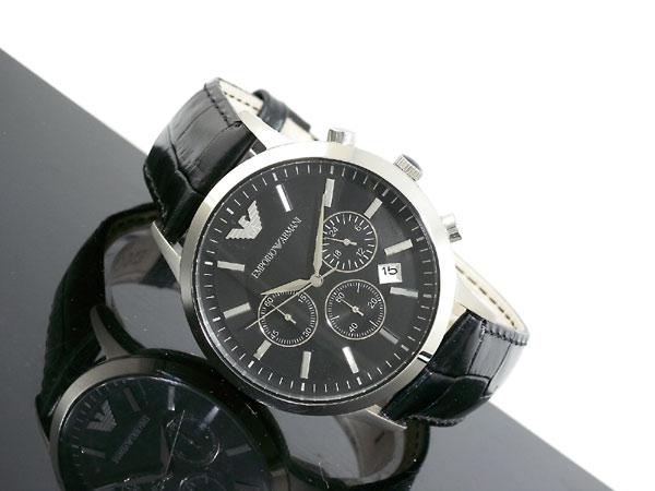 エンポリオ アルマーニ EMPORIO ARMANI クロノグラフ メンズ 腕時計 AR2447 ブラック×シルバー レザーベルト-2
