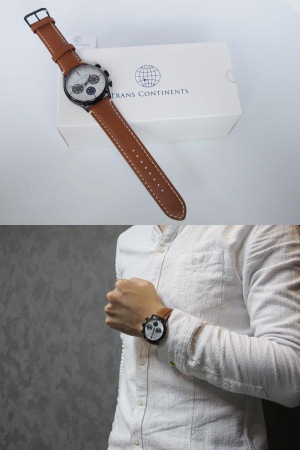 トランスコンチネンツ TRANS CONTINENTS 腕時計 メンズ 40mm TC-HE-006-2