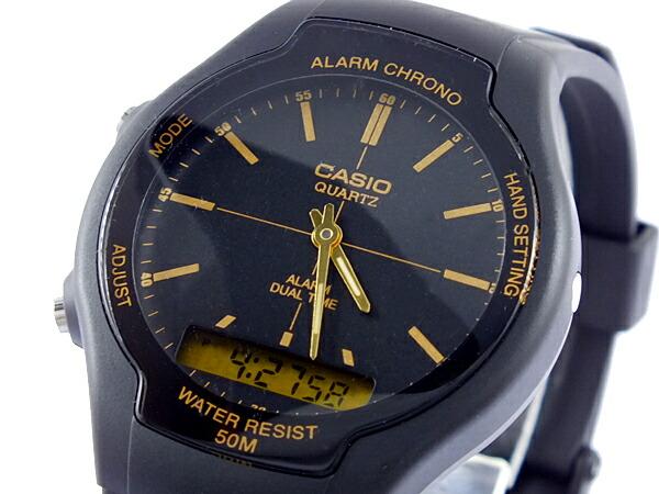 カシオ CASIO スタンダード 逆輸入 アナデジ メンズ 腕時計 AW-90H-9E ブラック×ゴールド ラバーベルト-1