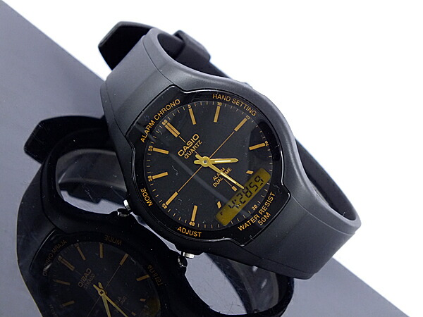 カシオ CASIO スタンダード 逆輸入 アナデジ メンズ 腕時計 AW-90H-9E ブラック×ゴールド ラバーベルト-2