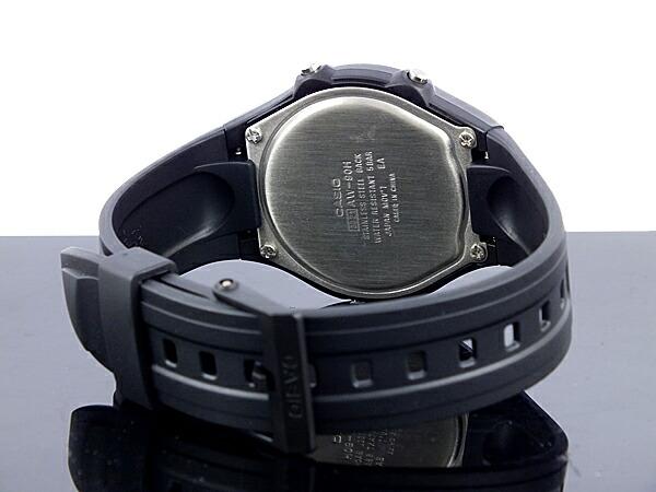 カシオ CASIO スタンダード 逆輸入 アナデジ メンズ 腕時計 AW-90H-9E ブラック×ゴールド ラバーベルト-3