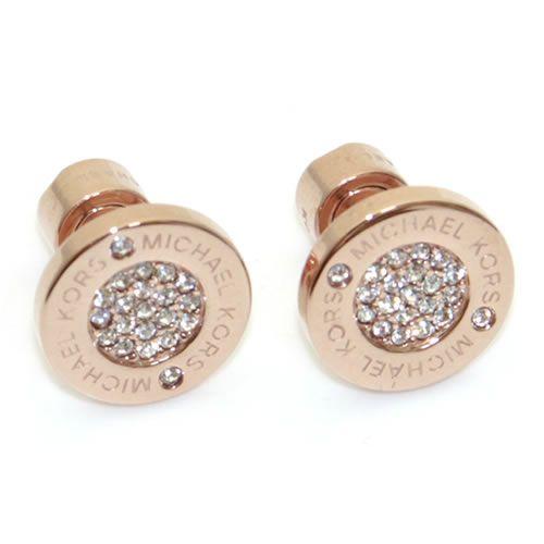 マイケルコース Pave Rose Gold-Tone Stud Earrings パヴェ ロゴディスク ピアス MKJ3353791